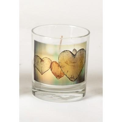 Gedenkkaars in glas Hartjes