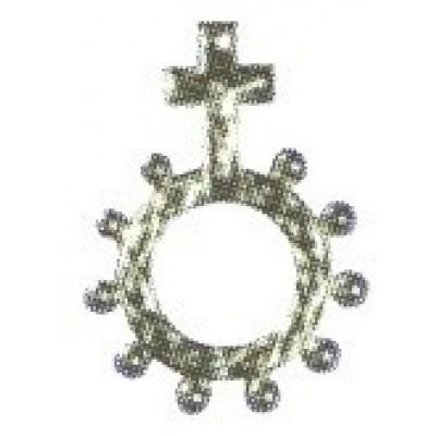 Rozenkrans verzilverd, 4,5 cm.