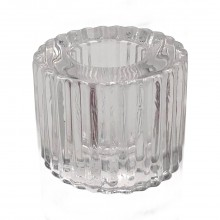 Kaarsenhouder geribd glas