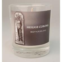 Gedenkkrs in glas H. Corona zwart